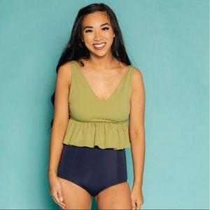 NWT Kortni Jeane V-Neck Swimsuit Top, XL